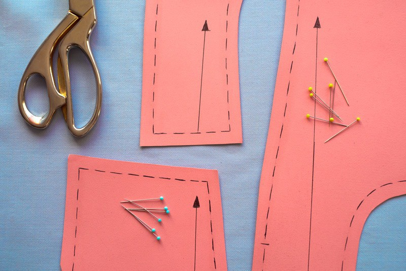 sewing pattern with pins
